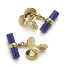 18ct yellow gold propeller cuff links with lapis lazuli batons by Villa Milano…