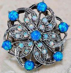 Blue Fire Opal Opal 925 Solid Sterling Silver Art Nouveau Flower Ring Sz 7 | eBay
