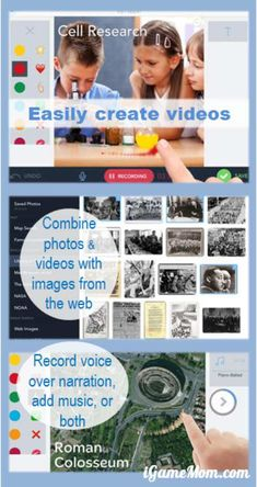 A fun app letting kids as young as kindergarten age to create videos using photos on device's photo album or sourcing from the internet, kids can add music, narration, text, drawing on each picture. A great storytelling and presentation tool.