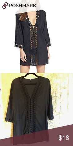 Black Crochet Swimsuit Coverup Super cute coverup with flattering crochet designs down the front & on the sleeves. Bought this a couple months ago, but never wore it!! Size XS but fits size SX/S. NWOT. (Not Free People, tagged for exposure) Free People Swim Coverups