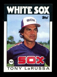 Manager extraordinaire Tony LaRussa during his Sox stint in the Great manager. Great Team, World Of Sports, Chicago White Sox, New York Yankees, Cardinals, Trading Cards, Mlb, Socks, Baseball Cards