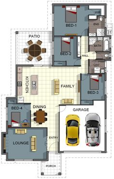 3 bedroom house design with garage floor plan house design 4 bedroom 2 bathroom double garage . 4 Bedroom House Designs, 2 Bedroom House Plans, 3d Home Design, Home Design Plans, Design Ideas, Garage Floor Plans, House Floor Plans, Double Storey House, Interior Staircase