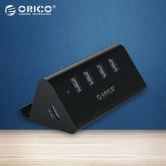 ORICO ABS High Speed Mini 4 USB ports USB 3.0 HUB with Phone Tablet  Holder - Black/White(SHC-U3) #Affiliate