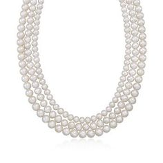 """5-8mm Graduated Three-Strand Pearl Necklace In Sterling Silver. 16"""""""