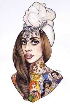 When POP sucks the tits of ART.  Lady GaGa, by Helen Green.