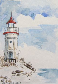 Great Lake Lighthouse Watercolor ACEO, Artist Trading Card.