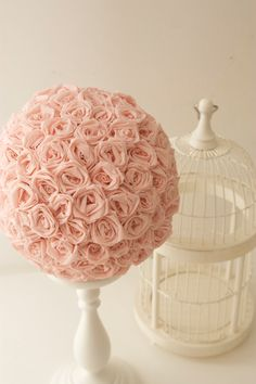 handmade crepe paper rose pomander ball by GreyPixieBlush on Etsy, $25.00