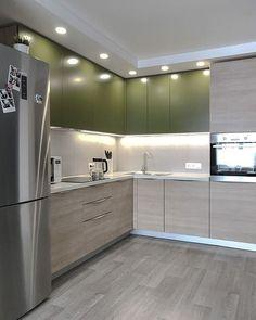 Image may contain: kitchen and indoor Kitchen Layout, Kitchen Decor, Modern Kitchen Furniture, Clinic Interior Design, Cabin Kitchens, Cupboard Design, Contemporary Kitchen Design, Flat Design, Kitchen Cabinets