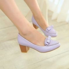 Womens Lolita Pumps Bowknot Block Chunky Heel Court Oxfords Office Shoes US4.5-8