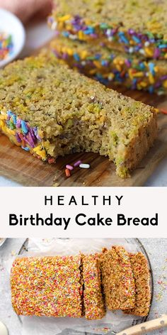 Incredible healthy birthday cake bread made with oat flour and almond flour to keep it gluten free! This easy gluten free birthday cake bread can be made in one bowl and is perfect for celebrations or any time you're feeling festive. Add your favorite sprinkles and enjoy! #birthdaycake #quickbread #breadrecipe #snackrecipe #glutenfree