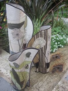 Stitched collage vases and candle covers using upcycled fabrics and papers, hand embellished and machine stitched. Anne Brooke...