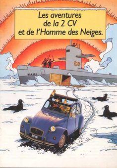 """brochure Tintinde Hergé couverture """" Les aventures de la 2cv et de l'Homme des Neiges"""