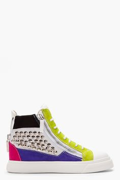 Giuseppe Zanotti White Multicolor Studded London Sneakers -  Giuseppe Zanotti White Multicolor Studded London Sneakers Giuseppe Zanotti Mid_top leather sneakers in white. Multicolor suede paneling throughout. Round toe. White lace_up closure. Tonal logo_stamped patch at padded bellows tongue. Exposed zip closures at either side of tongue gusset. Panel of...