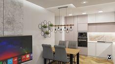 Soft loft, jasna kuchnia, mały stół, geometryczna dekoracja, jamiska.pl Flat Screen, Interior Design, Loft, Blood Plasma, Nest Design, Home Interior Design, Interior Designing, Flatscreen, Lofts