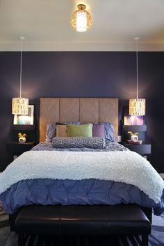 Mmm, purple. Anna Bautista & AJ Calomay's house in Los Angeles, CA. #anna_bautista #aj_calomay #interiors #purple #bedrooms #paint #colours #walls #design #decorations