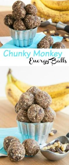 Chunky Monkey Energy Balls - a quick, healthy snack loaded with chunks of dark chocolate and walnuts, sweet bananas, and a few superfoods. Coconut Energy Balls, Vegan Energy Balls, Energy Bites, Food Energy, Good Healthy Snacks, Healthy Baking, Healthy Foods, Healthy Deserts, Vegan Snacks