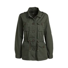 army green jacket. I just got one kind of like this, without the drawstring waist, at a thrift store for $8.99. Yay!