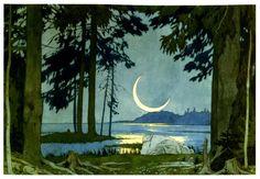 Иван Билибин. Садко. Ночь на берегу Ильмень-озера 1902