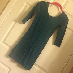 Teal Green Tunic Worn once! Could be a dress if your short enough or a super cute top! Very comfy material and just the one whole from the tag being ripped off half of the back area of the shirt. Not super visible easy to sew! Make me an offer if you don't like the price! Forever 21 Tops Tunics