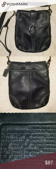 """Authentic Vintage Coach Crossbody Purse This is an authentic vintage black leather crossbody buckle bag by Coach. It has a large main compartment with magnetic snap closure (looks like a buckle when closed) and a smaller pocket on the back side. The strap is removable, can be adjusted, and comes with a leather shoulder piece for additional comfort. This bag is in wonderful condition. It has a width of about 7"""" and height 8.5"""" and opens up between 3""""-4"""". Coach Bags Crossbody Bags"""