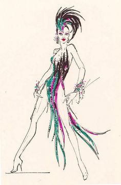Jubilee sketch by Bob Mackie……one of my favorite dances and costume! Jubilee sketch by Bob Mackie……one of my favorite dances and costume! Bob Mackie, Showgirl Costume, Vegas Showgirl, Costume Design Sketch, Old Shows, Beautiful Costumes, Fashion Art, Fashion Design, Fashion Sketches
