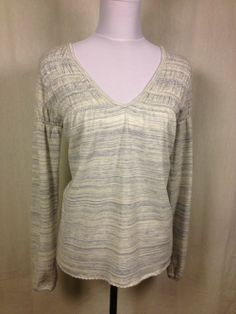 FREE PEOPLE White & Blue Heathered Knit Top - $29