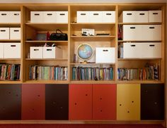 cubby ideas for wall behind desk Plywood Shelves, Bookshelves, Bookcase, Kids Storage, Storage Shelves, Shelving, Kids Office, Booth Design, Kid Spaces