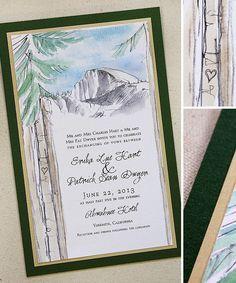 Watercolor Yosemite Pine Tree Wedding Invitations