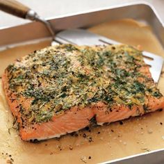 "phattabulous: "" Baked Lemon Herb Salmon Ingredients Salmon fillet [you can substitute with a Salmon steak if you prefer] 1 tbsp. of cilantro, chopped 1 tbsp. of parsley, chopped ½ tsp. of dried rosemary 1 tsp. of dried dill 2 tbsp. of lemon juice Salmon Recipes, Fish Recipes, Seafood Recipes, Cooking Recipes, Dinner Recipes, Healthy Recipes, Salmon Food, Mexican Recipes, Seafood Dishes"