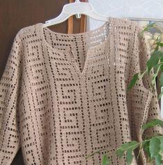 Summer tunic tunic crochet cotton tunic tunic with sleeves beige tunic clothing crochet We offer You a tunic crochet cotton. We used the thin threads of Egyptian cotton . Crochet Coat, Cotton Crochet, Crochet Cardigan, Filet Crochet, Crochet Clothes, Crochet Lace, Crochet Stitches, Crochet Summer, Crochet Bolero Pattern