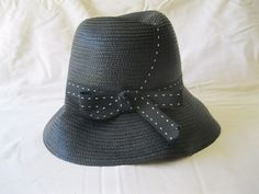 Women's Tall Black Straw Hat White Stitched Ribbon Summer Sun  #Unbranded