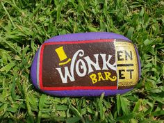 Painted rock, rock painting, rock painting ideas, Willie Wonka, golden ticket.