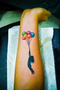 Instead of balloons an umbrella
