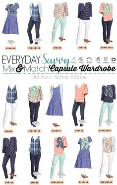 This new Old Navy Spring Capsule Wardrobe just might be my favorite! I am a sucker for the blues, mint and coral with the floral and stripes. Mint jeans and white jeans are both in style Spring Summer Fashion, Spring Outfits, Spring 2016, Casual Outfits, Cute Outfits, Old Navy Outfits, Casual Attire, Fashion Outfits, Fashion Fashion