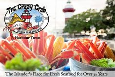A Unique Waterfront Dining Experience Overlooking Hilton Head Island's Famous Harbour Town Marina The Crazy Crab menu is derived from Lowcou...
