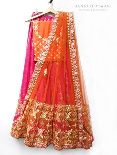 Gotapatti orange and pink lehenga