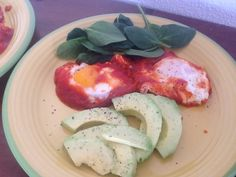 Tasty carb free, baked eggs with Spinach and Avocado, a family favourite!