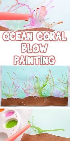 Ocean Coral Blow Painting Summer Kids Art Project is part of Art painting For Kids - I'll be showing you how to make a Ocean Coral Blow Painting, but you can use this technique to make crazy hair, animal fur, or just unique abstract art