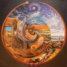 """""""Abiquiu Spiral"""" Acrylic, 24"""" x 24"""" by artist Sam Brown. See his portfolio by visiting www.ArtsyShark.com"""