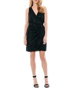 Laundry By Shelli Segal Embellished Wrap Dress Women's Black 6