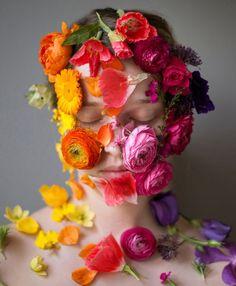 Photographer Kristen Hatgi, Flower Face Series