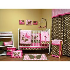 Love this set!!! WalMart   Love the Brown and Pink together!!!! Bacati Butterflies 10-Piece Nursery in a Bag Crib Bedding Set, Pink/Chocolate///Walmart.com