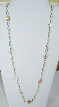 Swarovski Beaded Long Gold Chain Necklace by BestBuyDesigns