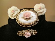 Vintage Multi Piece Group of Porcelain Rose Pins and  Clip Earrings with Free Shipping