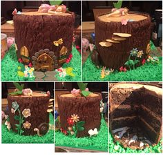 Fairy tree stump cake. I made the tree decorations out of gum paste and fondant. I did not make the fairy though. Chocolate cake with chocolate buttercream.