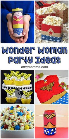 Here is a list of creative and fun ideas for throwing a Wonder Woman party! There are food, cake, craft, activity and decoration ideas. Wonder Woman Cake, Wonder Woman Party, Superhero Birthday Party, Birthday Party Themes, Birthday Ideas, 5th Birthday, Batman Party, Anniversaire Wonder Woman, Birthday Woman