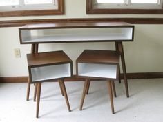 Desk can be used as a dressing table. Mid Century Inspired APARTMENT SET. Two Nightstands and Small Desk / Painted Interior. Solid Wood Set. Small Space Modern Furniture Set