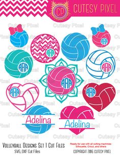 Volleyball Designs Frames Svg cutting file by CutesyPixel on Etsy Volleyball Team Shirts, Volleyball Shirt Designs, All Volleyball, Coaching Volleyball, Silhouette Vinyl, Silhouette Studio, Team Mom, Water Polo, Monogram Frame
