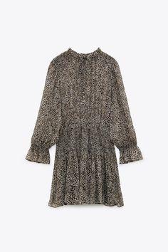 Animal Print Dresses, High Collar, Smocking, Bell Sleeve Top, Zara, Long Sleeve, Sleeves, Tops, Women