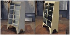 This vintage display case could hold a myriad of objects: books, dinnerware, baskets, movies, pantry items, toys, etc. Lara updated it with a mirrored interior panel and a fresh coat of paint.